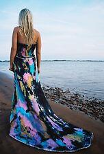 New Silk Beach Bohemian Wedding Dress Resort Gown Blue purple black train 4 6 8