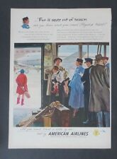 Original Print Ad 1949 AMERICAN AIRLINES Fun is Never out of Season Art Vintage