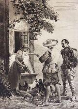 Ricardo DE LOS RIOS (1846-1929) estampe pointe sèche le déjeuner des poules 1880