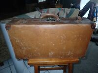 Vintage Caramel Brown Leather Suitcase  As Found Condition Used