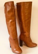 Womens Tall Tan Leather Boots Knee Chunky High Stacked Heel 8 BRAND NEW in BOX