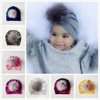 Handmade Infant Baby Girls Velvet Turban Hat Cap Beanie Knot Headband Head Wrap