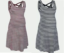 NEW LOOK MATERNITY NAVY OR WINE STRIPED SUMMER SKATER DRESS ALL SIZES NEW