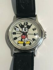 Vintage DISNEY MICKEY MOUSE Watch BLACK LEATHER EMBOSSED BAND New Battery