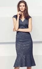 Next Navy Lace Jacquard Tailored Lined Dress New