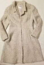 Chanel Fuzzy Wool Blend Womens Long Fitted Coat Size 42