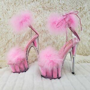 """Adore 724 BabyPink Marabou Platform Shoes Sandals 7"""" High Heel Shoes NY"""