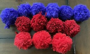 Handmade Large 2.5 Inch Red, Dark Red, Purple Pom Poms 13 Pieces