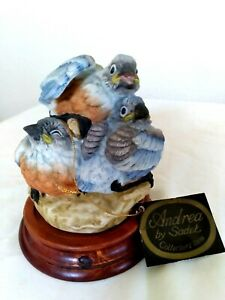 Aged Andrea by Sadek Baby Bluebirds Porcelain Figurine Statue with tag and Base