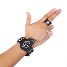 Anime Naruto Shippuden Konoha Logo Bracelet Ring Punk Rivet Cosplay