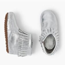 Minnetonka Infant Toddler Girl Aria Silver Moccasin Shoes NIB