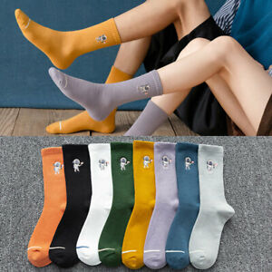 Unisex Cotton Athletic Sports Crew Socks Striped Over Ankle Casual Classic Solid