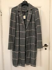 Primark Atmosphere Black Grey White Check Wool Coat size 14 New BNWT Blogger