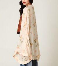 ONE TEASPOON  Yellow Silk Kimono FREE PEOPLE Floral Printed Cape Jacket 4 Small