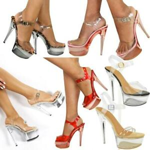Womens High Heel Stilleto Perspex Platform Sandals Sexy Clear Party Shoes Glass