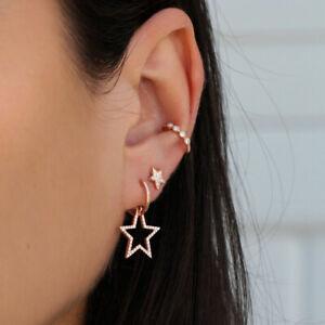 Small Round Hoops Clip Star Ring Earrings Women Girls Earings Bling Set Gold AY