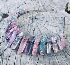 Titanium Rainbow Quartz Crystal Festival Crown Bridal Wedding Tiara Headband