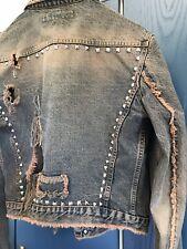 ANDREW MACKENZIE AMK Studded Distressed Destroyed Denim Jacket NOS!!