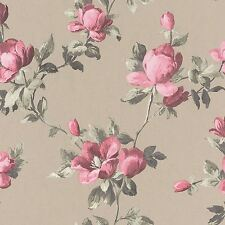 EMILIA ROSE FLORAL WALLPAPER GOLD / PINK - RASCH 502138 FLOWERS