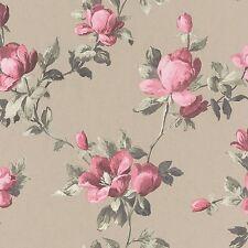 EMILIA ROSE FLORAL WALLPAPER GOLD / PINK - RASCH 502138 FLOWERS