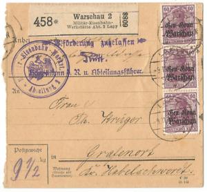 1. Weltkrieg, Deutsche Besetzung Polen, Paketkarte, Lapy, Warschau, Zensur-Post