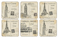 Pimpernel Postcard Sketches Coasters Drink Mats Set of 6 London Paris New York