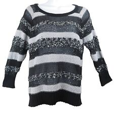 Women's Sweater Long Sleeve Top Sequin Gray Black White INC Petite Size L New