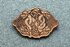 Engraved Jewelry Birch Wood New #108 Celtic 4 Dragons Brooch Pin Laser