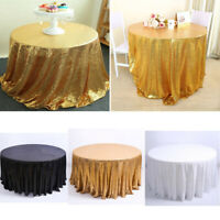 US 120cm Sequin Tablecloth Cover Glitter Wedding Party Banquet Table Party Decor