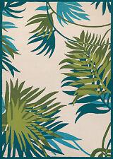 "4x6 (3'6"" x 5'6"") Tropical Coastal Beach Palms Aqua Blue Indoor Outdoor Area Rug"