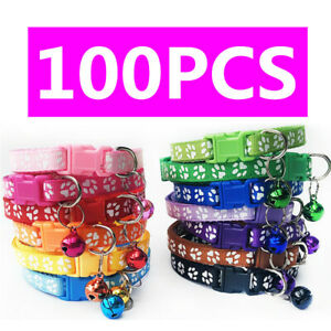 100PCS/Lot Cat Collar Pet Puppy Dog Collars W/Bell Small Cute Necklace Wholesale