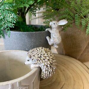 Grey White Rabbit Hedgehog Plant Pot Christmas Hanger Hugger Decoration Hare