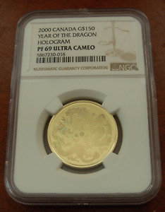Canada 2000 Gold $150 NGC PF69UC Year of the Dragon Hologram