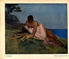 Wilhelm Trübner-In Arkadien- Nackt am Strand- Jugendstil- Coloriert - aus 1911
