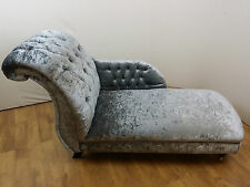 Steel Grey CRUSHED VELVET CHAISE LONGUE