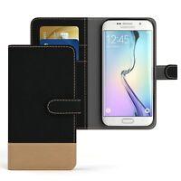 Tasche für Samsung Galaxy S6 Edge Jeans Cover Handy Schutz Hülle Case Schwarz