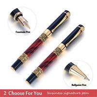 RedWood Metal Ballpoint Pen Fountain Pen Black Ink Gel Office Writing Stationery