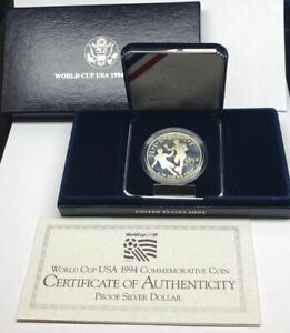 1994 S World Cup USA Commemorative Proof Silver Dollar OMP/COA