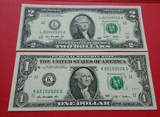 Willie: United State 1 dollar & 2 Dollar UNC same serial number 2520