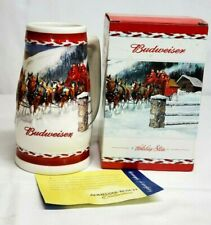 2010 Budweiser DASHING THROUGH THE SNOW Holiday Beer Stein NEW in BOX w COA