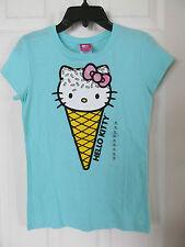 NWT Girl's Hello Kitty Aqua Blue short sleeved glittered T-Shirt size L 14