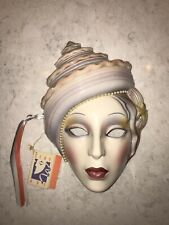 Vintage Original Clay Art San Francisco About Face Ceramic Mask Seashell Pearl