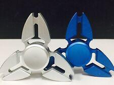 2 Pcs (SILVER & BLUE) Fidget Spinner Metallic Brass , Retail Package. USA Seller