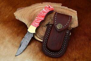 MH KNIVES RARE CUSTOM DAMASCUS STEEL FOLDING/POCKET KNIFE BACK LINER LOCK MH-13F
