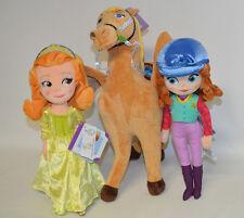 "Disney Store Sofia The First Equestrian & Amber 13"" Saffron Horse 16"" Set NWT"