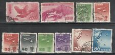 JAPAN AIR MAIL LOT OF 10 DIFFERENT USED.
