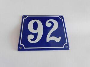 Old French Blue Enamel Porcelain Metal House Door Number Street Sign / Plate 92