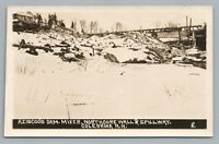 Aziscoos Dam RPPC Colebrook NH Rare New Hampshire Photo—Coos County 1910s