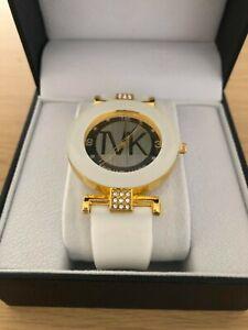Ladies, Women's White & Gold Dress Watch, Michael Mark Watch + Watch Box