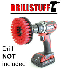 Red Drill Brush Power Scrubbing Attachment for Cleaning Showers Tubs Bathrooms